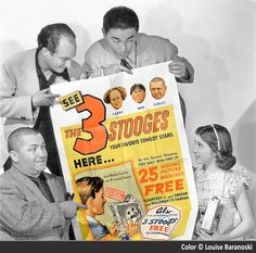 The 3 Stooges in a b&w publicity still.  Used an identical poster up for auction as my color reference, colorized by Louise Baranoski.