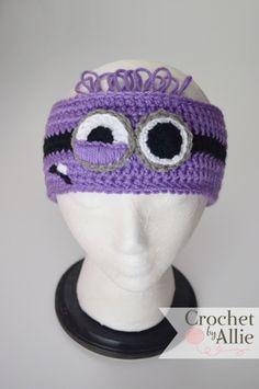 Items similar to Minion Headband, earwarmer, Despicable Me, Purple, Crochet By Allie on Etsy Minion Crochet, Crochet Beanie, Knitted Hats, Crochet Hats, Crocheted Headbands, Headband Crochet, Minion Pattern, Hair Yarn, Purple Minions