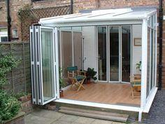 Backyard Patio Designs, Backyard Projects, Terrazzo, Terraced Patio Ideas, Sunroom Kits, Garden Room Extensions, House Extension Design, Patio Enclosures, Front Yard Design