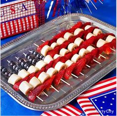 Festive Fourth of July Dessert. I would replace the bananas with angel food cake --- that way it won't turn brown :-)