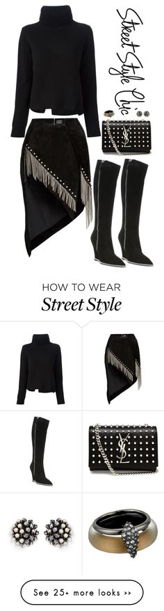 """""""Street Style Chic"""" by musicfriend1 on Polyvore featuring Anthony Vaccarello, Proenza Schouler, Giuseppe Zanotti, Yves Saint Laurent, Miriam Haskell and Alexis Bittar"""