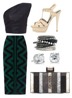 """Untitled #692"" by meryem-mess ❤ liked on Polyvore featuring Monique Lhuillier, Burberry, H&M, Halston, Yves Saint Laurent and Blue Nile"