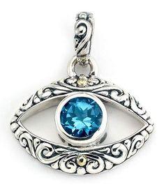 Samuel B Jewelry Sterling Silver & 18K Gold Blue Topaz Accent Evil Eye Pendant