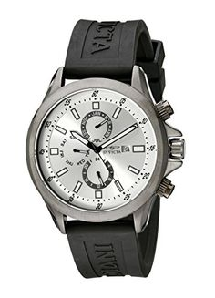 Men's Wrist Watches - Invicta Mens 1839 Specialty Silver Dial Black Polyurethane Watch * Check out this great product.