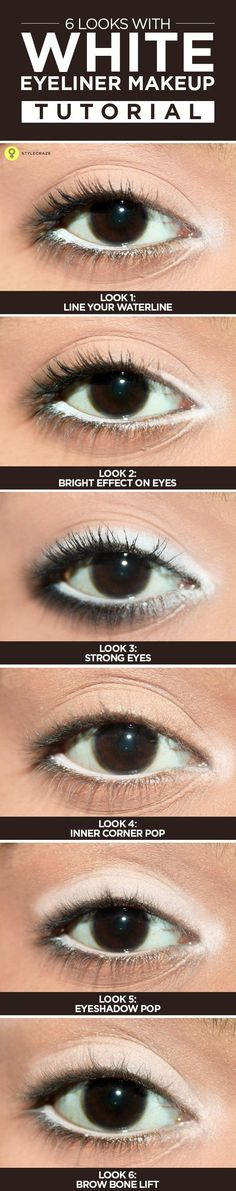 6 Amazing Looks With White #Eyeliner #Makeup – Tutorial With Detailed Steps And Pictures