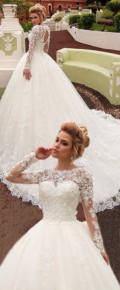 Attractive Tulle Jewel Neckline Ball Gown Wedding Dress With Beaded 3D Flowers & Lace Appliques & Beading