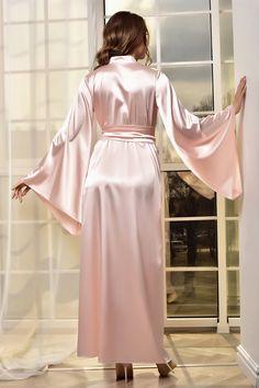 Kimono Satin, Pink Silk Robe, Satin Nightie, Satin Lingerie, Wedding Lingerie, Rosa Satin, Satin Rose, Pink Satin, Lace Bridal Robe