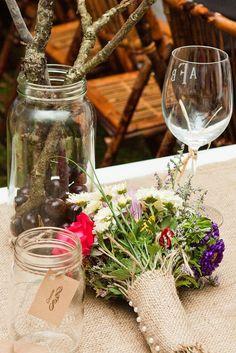 Alyssa and Brian's Homemade Outdoor Wedding with Burlap, Mason Jars and Love