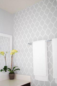 Bathroom Makeover DIY Moroccan design for the walls. Good idea for the bathroom. Paint = Chromium by Valspar (Lowe's)DIY Moroccan design for the walls. Good idea for the bathroom. Paint = Chromium by Valspar (Lowe's) Wallpaper Bedroom, Gray And White Bathroom, Home Projects, Interior, Bathroom Makeover, Home Decor, Diy Bathroom Makeover, Bathrooms Remodel, Bathroom Design
