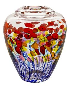 California Poppy Ginger Pot: Robert Held: Art Glass Vase - Artful Home