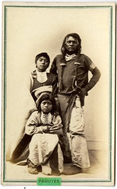 PAIUTE MAN AND CHILDREN , circa 1870