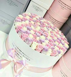 the million large box - white - pink-lavender-white roses