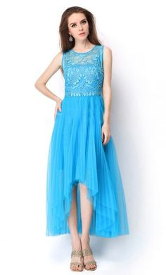 Blue Sleeveless Embroidery Pleated High Low Dress, $72.58