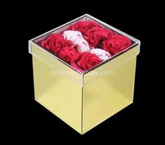 Custom gold acrylic rose box, custom plexiglass flower box Acrylic Sheets, Acrylic Box, Flower Boxes, Flowers, Box Manufacturers, Color Shapes, Silk Screen Printing, Custom Boxes, Rose Wedding