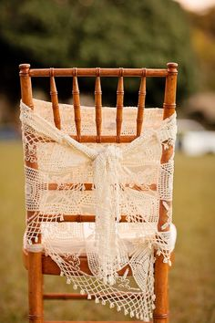 crocheted chair cover—Hawaii shabby chic