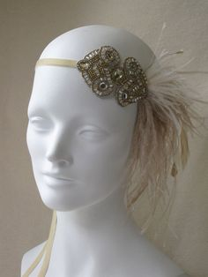 Antique Gold And Champagne Deco Flapper Feather Headband    $48