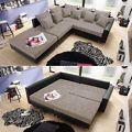 Ecksofa Claudia Wohnlandschaft Ottomane links Sofa mit Hocker schwarz graubeige