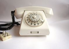 Vintage rotary white phone 1980s for decore by MariyaDecor on Etsy, $25.00