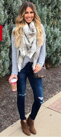#Winter #Outfits / Oversized Cashmere Scarf - Ripped Jeans