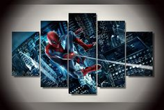 Style Your Home Today With This Amazing 5 Panel Marvel Spider-Man Framed Wall Canvas Art For $99.00  Discover more canvas selection here http://www.octotreasures.com  If you want to create a customized canvas by printing your own pictures or photos, please contact us.