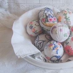 """from the Etsy shop """"vintagelinenrose""""...while these items are already sold, the shopkeeper explained how she created them...i, myself, would wrap the balls and do embroidery on top of them."""