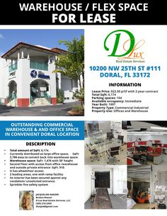 Homepage with properties slider ~ D'lux Warehouse Office Space, New Flyer, Parking Space, Real Estate Services, Sliders, Florida, Heart, Building, Buildings