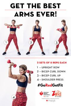 Your sexiest arms ever are just weeks away. Foolproof arm workout from celebrity trainer Maria Guerra. Get to sweatin'! #GoRedGetFit