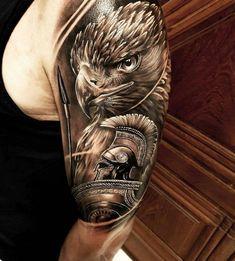 26 best half arm tattoo for women and men - bafbouf , Tattoos For Women Half Sleeve, Arm Tattoos For Guys, Trendy Tattoos, Cool Tattoos, Gladiator Tattoo, Eagle Tattoo Arm, Eagle Tattoos, Tattoos Arm Mann, Body Art Tattoos