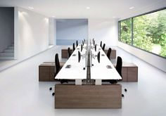 Contemporary multiple workstation for open-space - in conventional brown and modern white