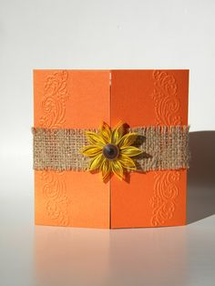 Orange sunflower invitation / Burlap sunflower by ancamilchis, $2.70 but with purple card