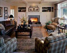 Traditional living room; elegant fireplace