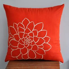 """Orange Succulent -Throw Pillow Cover -  18"""" x 18"""" Decorative Pillow Cover- Orange Linen with Beige Embroidery. $20.00, via Etsy."""