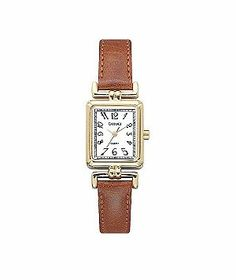 Carriage Watch with Gold Tone Case and Brown Leather Strap by Timex, $20