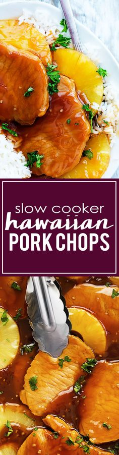 Slow Cooker Hawaiian Pork Chops ~ Incredibly tender slow cooked pork chops in sweet and tangy Hawaiian sauce and juicy pineapple! Crock Pot Food, Crockpot Dishes, Pork Dishes, Crock Pots, Crock Pot Slow Cooker, Slow Cooker Recipes, Crockpot Recipes, Cooking Recipes, Hawaiian Pork Chops