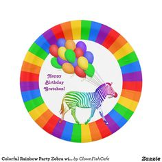 """Colorful Rainbow Party Zebra with Balloons 7 Inch Paper Plate - These paper plates feature a rainbow ring of colors surrounding a multi-colored zebra toting a bunch of colorful balloons. The text, which reads """"Happy Birthday"""", is fully customizable. http://www.zazzle.com/colorful_rainbow_party_zebra_with_balloons_7_inch_paper_plate-256123466165541628?rf=238083504576446517&tc=pint"""