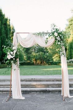 outdoor copper wedding arch with greenery and ivory draping wedding arch outdoor simple Modern Minimalist Green Wedding Ideas for The Simple + Chic Bride Wedding Arch Greenery, Simple Wedding Arch, Wedding Arch Rustic, Wedding Altars, Copper Wedding, Floral Wedding, Wedding Arches, Diy Wedding Arch Flowers, Wedding Table