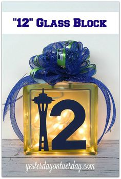 Glass Block decor for Seahawks fans #seahawks. Obviously this should be adapted for the Patriots!