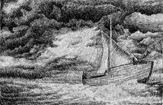 Fingerprint - Sailing.  Black ink drawing. By Nicolas Jolly. #art #drawing #ink