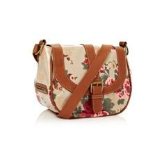 Brown floral across body bag (€25) ❤ liked on Polyvore featuring bags, handbags, shoulder bags, floral purse, studded cross body purse, brown crossbody purse, brown crossbody and brown cross body purse
