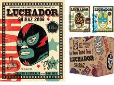 luchador wine label design