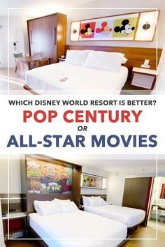 Disney World Resorts - Pop Century vs All-Star Movies side by side // WDW Basics // Which Disney World resort is better? Disney's All-Star Movies and Pop Century resorts recently received very similar room refurbishments. Let's take a closer look side by side! // PIN THIS and TAP TO READ #popcentury #allstarmovies Disney World Rides, Disney World Hotels, Walt Disney World Vacations, Disney Value Resorts, Disney Resort Hotels, Disney On A Budget, Disney World Planning, Best Disney Restaurants, Movie Chairs