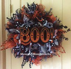 Boo Halloween Deco Mesh Wreath  Deco Mesh by MemphisMomWreaths