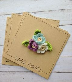 Crochet Flower Bouquet Brooch Card, gift and card idea for graduates, by The Little Lancashire Smallholding. maybe wouldn't use crochet Crochet Brooch, Knit Crochet, Fabric Cards, Handmade Gift Tags, Knitted Flowers, Fabric Journals, Beautiful Handmade Cards, Crochet Accessories, Vintage Crochet