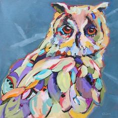 paintings of colorful owls | Found on caroleeclark.wordpress.com