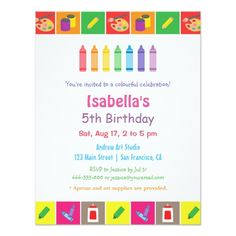 Art Birthday Party Arts and Crafts Themed Kids Birthday Party Card