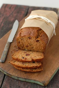 Pumpkin Roasted-Banana Quick Bread with cranberries. Perfect for fall! Gluten free or with gluten; baker's choice (options included).