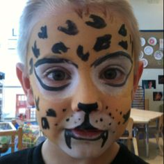 Easy cheetah face paint for kids - photo#9