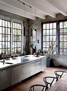 Kitchen in an Industrial Loft Apartment Of An Italian Artist