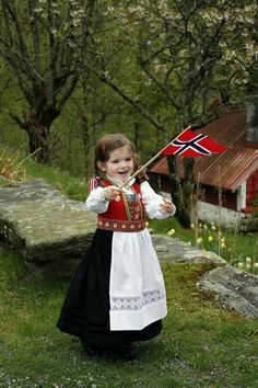 Girl in traditional Norwegian clothing and holding Norway& flag. Norway Girls, Folk Costume, Costumes, Norwegian Clothing, Norway Flag, Norway Oslo, Kind Photo, Beautiful Norway, Beautiful Smile