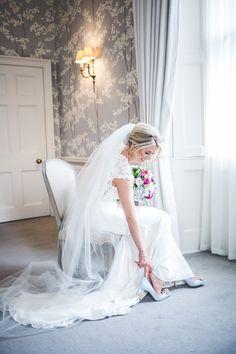 Balbirnie House Wedding, Bridal Portrait, Ted Baker powder blue shoes Girls Dresses, Flower Girl Dresses, Bridal Portraits, Blue Shoes, Buick, Ted Baker, Bb, Powder, Wedding Dresses